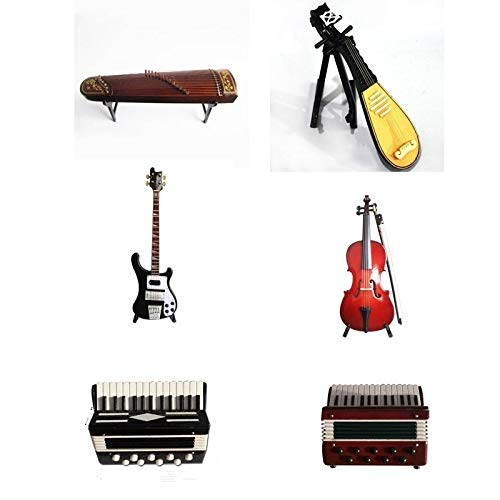 ZAMTAC Mini Cello/Bass Guitar/Lute/Accordion/Zither Model Musical Instrument Replica Ornaments Home Desktop Decoration - (Color: Accordion Model-B) by ZAMTAC (Image #2)