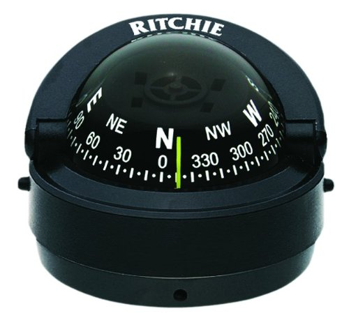 S-53 Ritchie Navigation Explorer Compass 2 3/4-Inch Dial with Surface Mount (Black) (Marine Boat Compass)