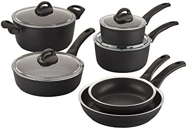 Ballarini 75001-638 Como Forged Aluminum Nonstick Cookware Set, 10-piece, Black