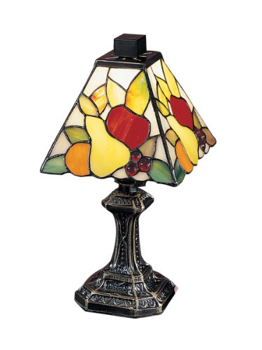 Dale Tiffany TA100122 Fruit Mini Table Lamp, Antique Brass and Art Glass Shade ()