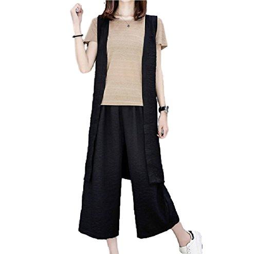 [Nana_Collection(ナナコレクション)] 夏 女性 Tシャツ ロングベスト パンツ 3点 セット 大きいサイズ