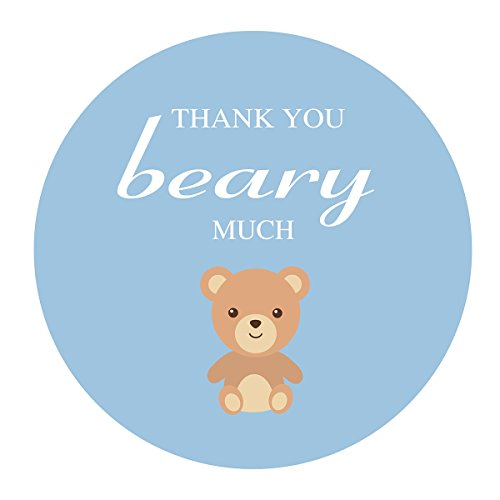 - MAGJUCHE Blue Teddy Bear Thank You Stickers, Boy's Baby Shower or Birthday Party Favor Sticker Labels, 2 inch, 40-Pack