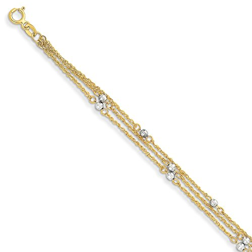 Triple Strand Heart Bracelet - ICE CARATS 14kt Two Tone Yellow Gold Triple Strand Bracelet 7.25 Inch Chain Fancy Fine Jewelry Ideal Gifts For Women Gift Set From Heart