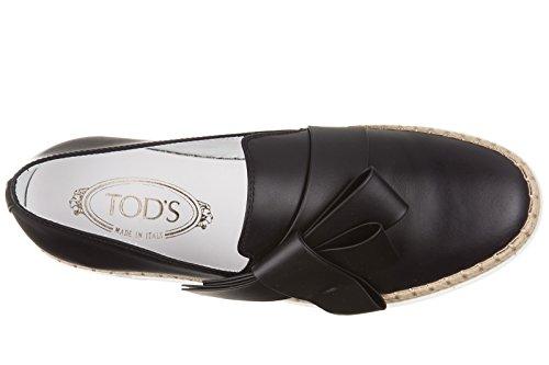 Sneakers Slip On In Pelle Da Donna Tods In Gomma Rafia Fiocco Nero
