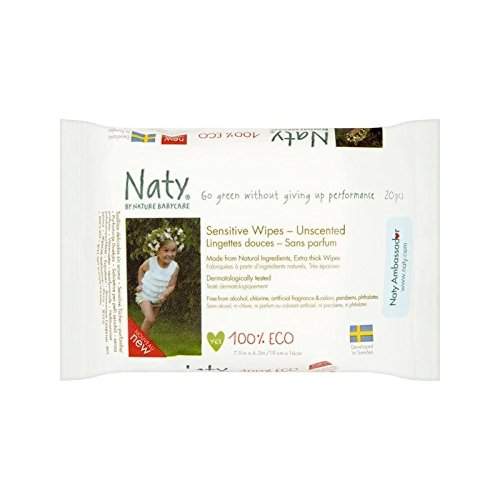 Naty Eco Travel Wipes Unscented 20 per pack - Pack of 4