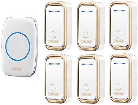 コードレスプラグインドアベル、長距離防水スマートドアベル、38トーン1000フィートレンジ3ボリュームレベル(6プッシュボタン&1レシーバー),3