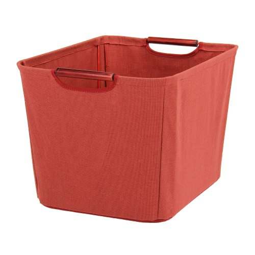 Household Essentials Open Tapered Bin with Wood Handles, Medium, Red by Household Essentials (Image #1)
