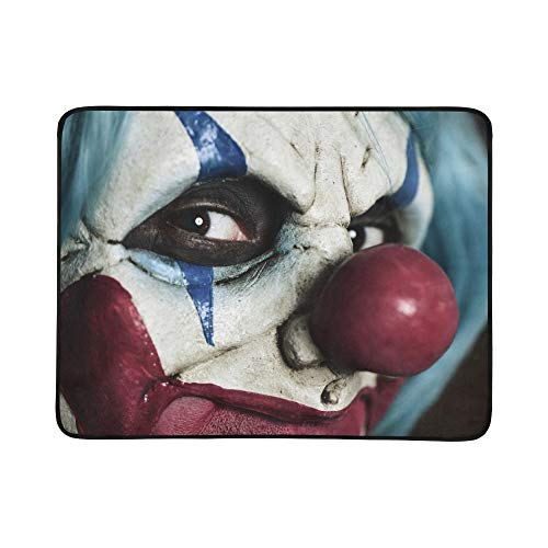 Evil Scary Clown Monster Pattern Portable and Foldable Blanket Mat 60x78 Inch Handy Mat for Camping Picnic Beach Indoor Outdoor -