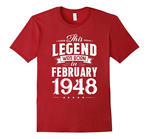 Born In February 1948 T-Shirt 70 Year Old Large Cranberry (70's Tee)