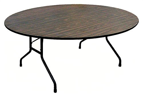 Round Solid Plywood Core Folding Table (60 in. x 72 in. Oval/Walnut)