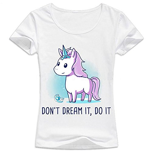 Manica Animato Stampa Shirt Estate Bianco Unicorno 106 Top Divertente QQI Corta con Arcobaleno T Stampa Unicorno Bello Donna Cartone 1qw75gz