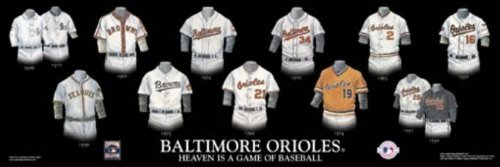 Framed Evolution History Baltimore Orioles Uniforms Print