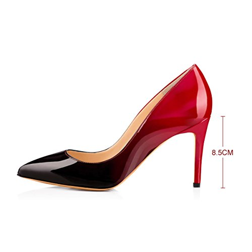 heel Pointed for Multicoloured Dress Pumps Mid Classic Toe Black and Women Red Uawpqn