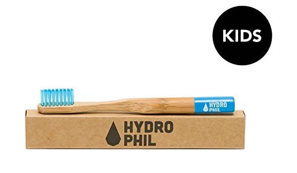 HYDROPHIL - Cepillo de Dientes Infantil Azul - Producción sostenible con bambú - vegano - Particularmente suave con las encías - Cerdas de nylon: Amazon.es: ...
