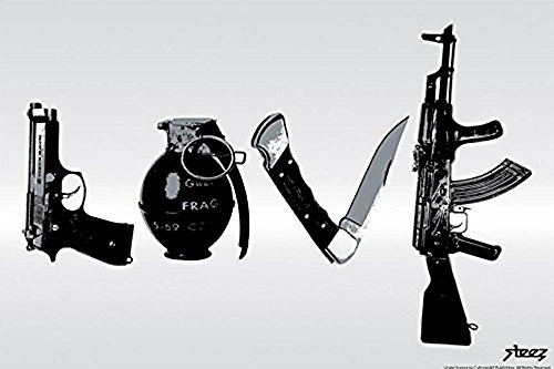 Steez (Love Weapons) 36x24 Art Poster Print handgun Grenade Switchblade Assault Riffle Romantic Romance (Handgun Switch)