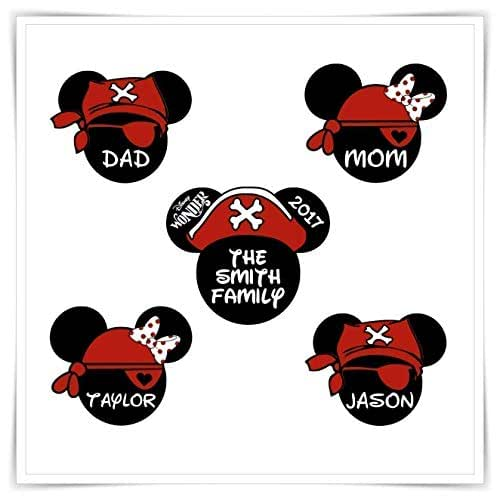 Personalized Disney Inspired Pirates Magnets. Disney Cruise Stateroom Door Magnets. Mickey Pirate magnet