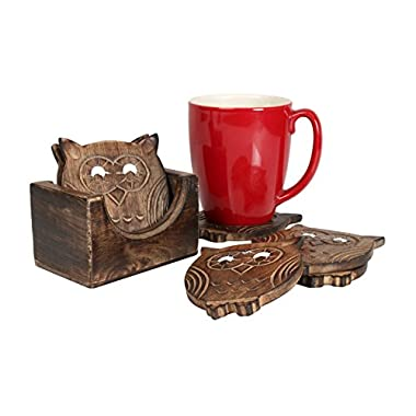 Store Indya Unique Adorable Owl Shaped Wooden Coasters Set of 6 with Holder, Bar Dining Accessories
