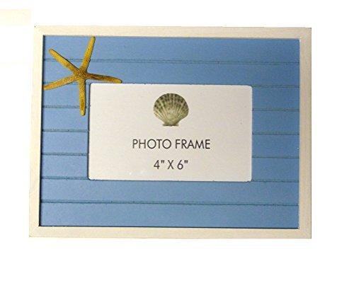 - Beachcombers Slat w/Starfish 9.75 x 1 x 7.25 inch Wood Wall Hanging Photo Frame, Blue