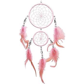 SOLEDI Dream Catcher Pink 35cm^11cm Handmade Traditional Circular Net Home Decor Wall Car Hanging Ornament Gift