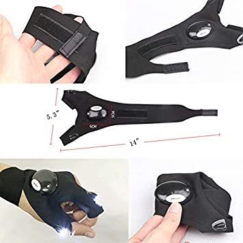 Fingerless Gloves Repairing Survival in Dark Fishing LINEN FAMILY Flashlight Gloves LED Camping Cycling