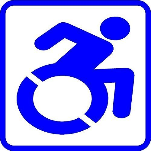 Custom sizes Wheelchair In Motion Handicap logo car sticker decal set of 2 decals
