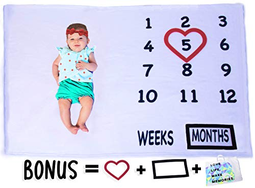 "Milestone Blanket by Mosaic Memories | Buy a Blanket and We Donate a Blanket to a Baby in Need | Unique Baby Gift Idea | Unisex Design for Girl or Boy | XL 60""x40"" Premium Fleece 