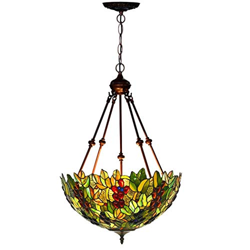 Tiffany Style Grape Ceiling Light,18 Inch Stained Glass Shade Chandelier,4 Arms,3 Lights Inverted Ceiling Pendant Hanging Lamp Fixture for Dining Room Living Room Bedroom (Design : B-110V)