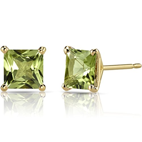 14K Yellow Gold Princess Cut 2.00 Carats Peridot Stud Earrings