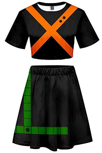 My Hero Academia Bakugou Katsuki Cosplay Costume Cheerleader Cheerleading Uniform Crop Top Dress]()