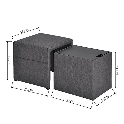 HOMY CASA 17'' Storage Ottoman w/Pull Out Drawer & Side Pocket - Gray Linen - Square Foot Rest Stool, Small Cube Table Ottomans by HOMY CASA (Image #2)