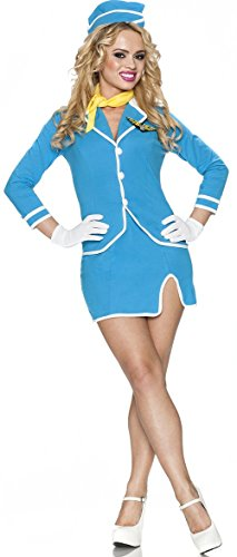 Sexy Stewardess Costumes (Delicious Vintage Friendly Skies Costume, Blue, Medium)