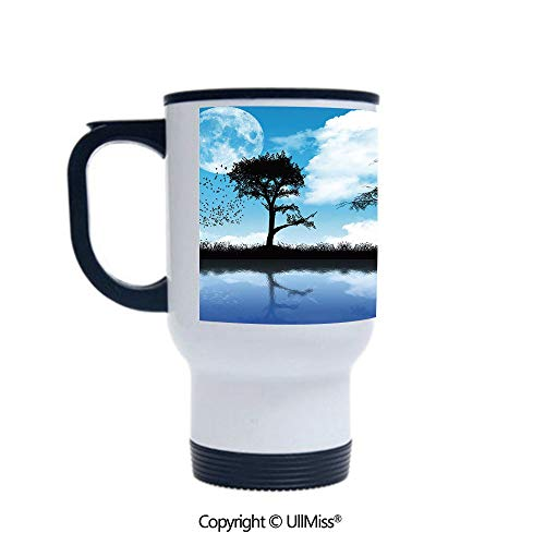 Stylish Stainless Steel Attractive And Distinctive Design 14OZ Travel Mug Cup Man with the Dog Walking by the Lake with Tree Reflection Moon Sky Print,Sky Blue Black White Suitable For Hot And Cold D