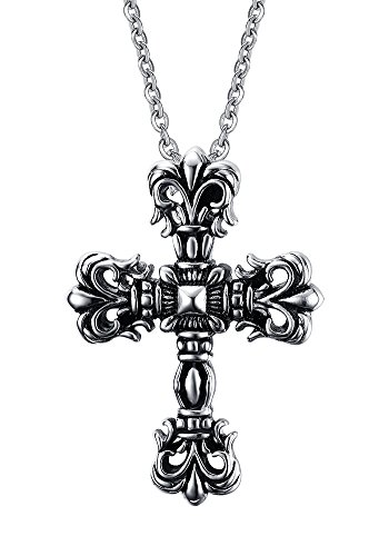 Stainless Steel Punk Style Chunky Antique Celtic Cross Pendant Necklace for Men with Chain