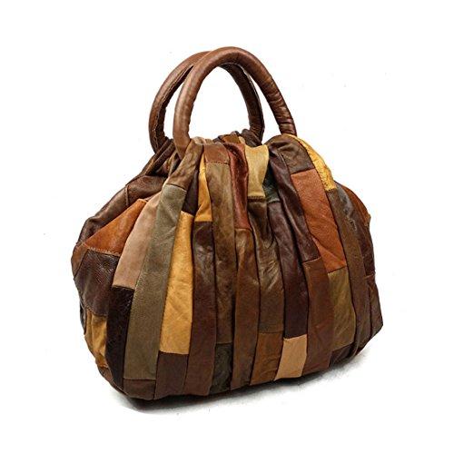 Vintage Patchwork Women Genuine Leather Handbag Soft Shoulder Bag (small, brown)