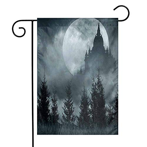Halloween Garden Flag Magic Castle Silhouette Over Full Moon Night Fantasy Landscape Scary Forest Premium Material W12 x L18 Grey Pale Grey]()