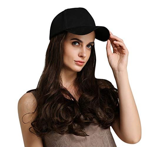 Natural Brown Wig Cap Baseball Cap None Lace Front Wig Density Soft Glueless Long Wavy Synthetic Wigs For Women Heat Resistant (A)]()