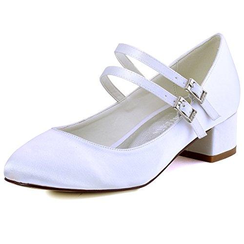 Heel Dyeable Satin Bridal Shoe (ElegantPark FC1615 Women Closed Toe Chunky Heel Mary Jane Pumps Satin Evening Wedding Dress Shoes White US 8)