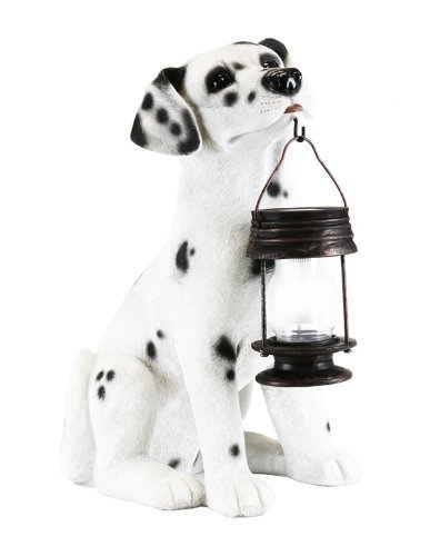 Garden Dalmation Dog With Lantern Solar Light For Outdoor Yard Stake