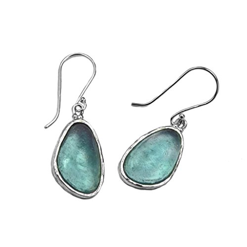 Ancient Roman Glass Aqua Washed Glass Earrings Sterling Silver ()