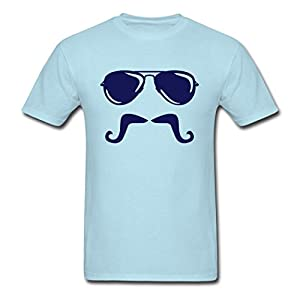 ZAKE Custom Printed Men's Mustache Sunglasses T-Shirts Sky blue L