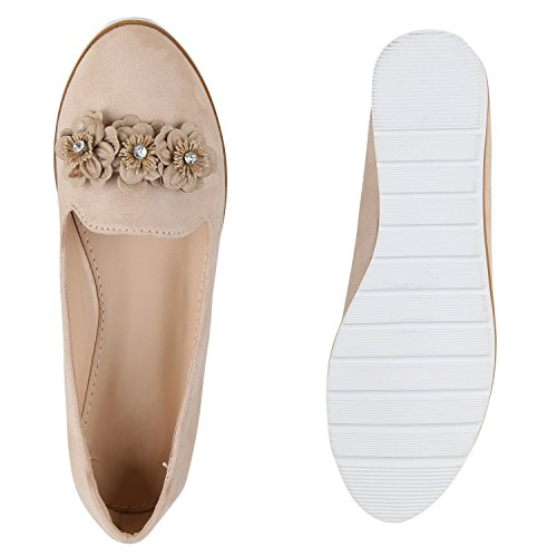 Damen Slipper Loafers Lack Metallic Schuhe Flats Profilsohle Flandell Creme Blumen