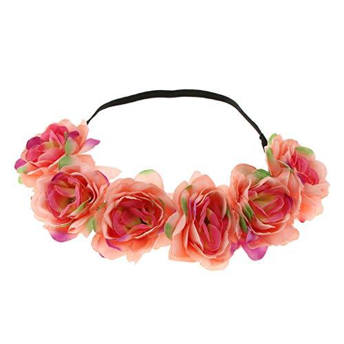BROSCO Women Hair Accessory Summer Beach Headband Flower Hair Wreaths   Color - Watermelon red