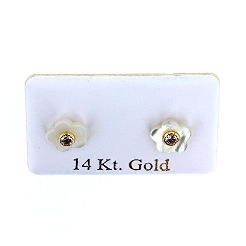 Stud Earrings, 14kt Gold Safety Back Ear Studs.they Are Made Specially for Kids Earrings (J) by BV