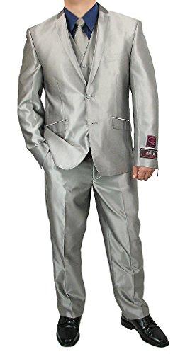 Sharp Men's 3-Piece, Shark-Skin, Slim-Cut, Flat-Front Dress Suit - Silver - Skin Mens Suit