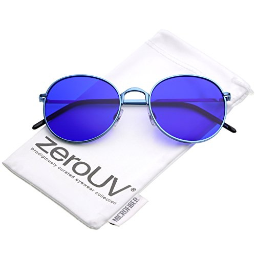 zeroUV - Bold Full Metal Frame Color Tinted Flat Lens Round Sunglasses 52mm (Blue / - Lens Blue Color