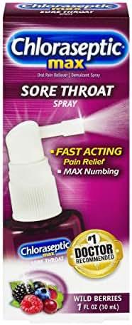 Chloraseptic Max Sore Throat Spray | Wild Berries | 1 Fl Oz (Pack of 1)