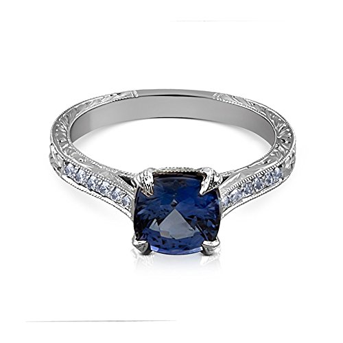 1.5CT Cushion Blue Sapphire Platinum Art Deco Replica Hand Engraved Engagement Ring