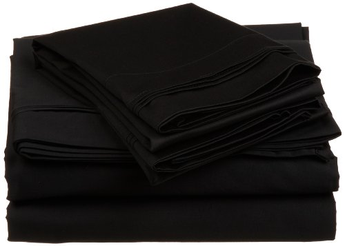 100 Sheet Amp - Impressions by Luxor Treasures 100% Egyptian Cotton 650 Thread Count, Twin XL 3-Piece Sheet Set, Deep Pocket, Single Ply, Solid, Black