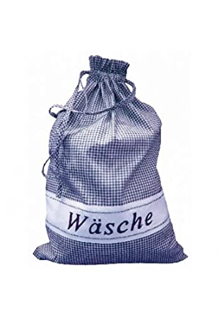 Kuche Und Mehr Waschesack Blau Weiss Kariert 45 65 Cm Amazon De