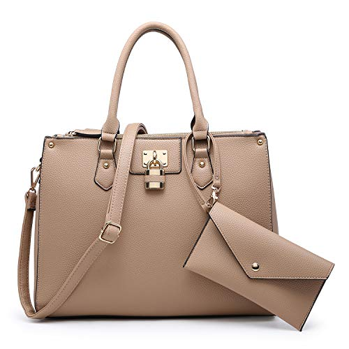 Dasein Women Fashion Handbags Tote Purses Shoulder Bags Top Handle Satchel Purse Set 2pcs Beige